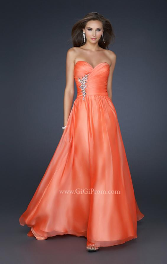 Picture of: Full Length Chiffon Dress with Accent Beading, Style: 17558, Main Picture