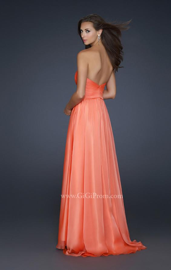 Picture of: Full Length Chiffon Dress with Accent Beading, Style: 17558, Back Picture