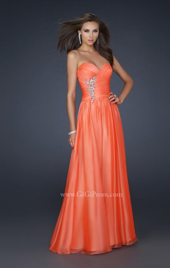 Picture of: Full Length Chiffon Dress with Accent Beading, Style: 17558, Detail Picture 1