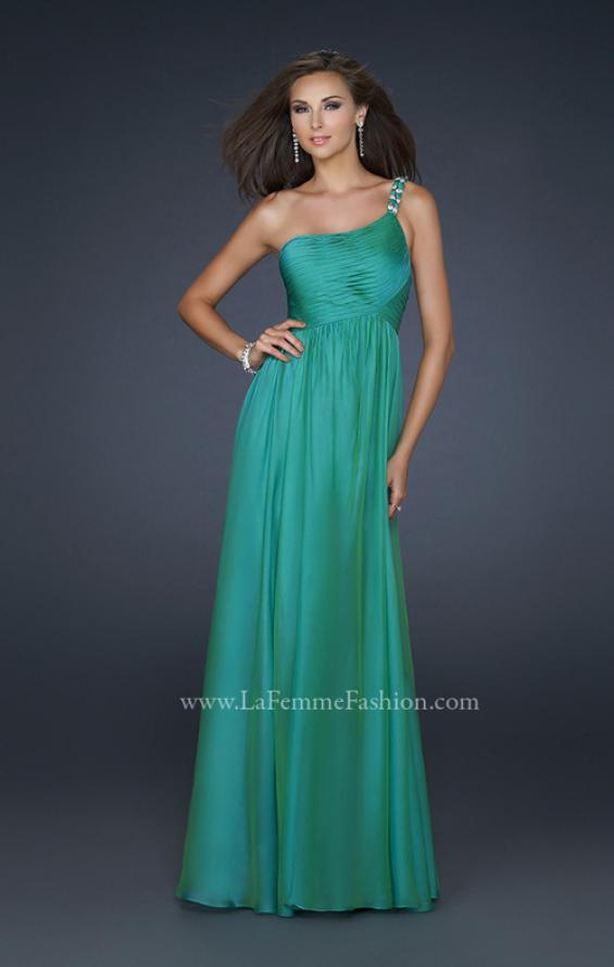 Picture of: Full Length Chiffon Gown with Embellished Shoulder Strap in Green, Style: 17575, Main Picture