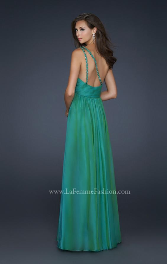 Picture of: Full Length Chiffon Gown with Embellished Shoulder Strap in Green, Style: 17575, Back Picture
