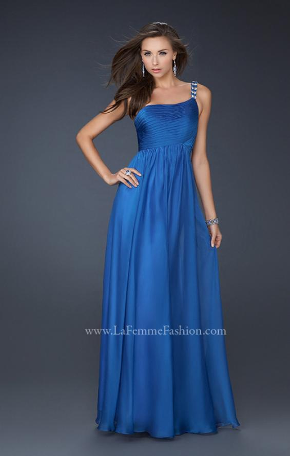 Picture of: Full Length Chiffon Gown with Embellished Shoulder Strap in Blue, Style: 17575, Detail Picture 1