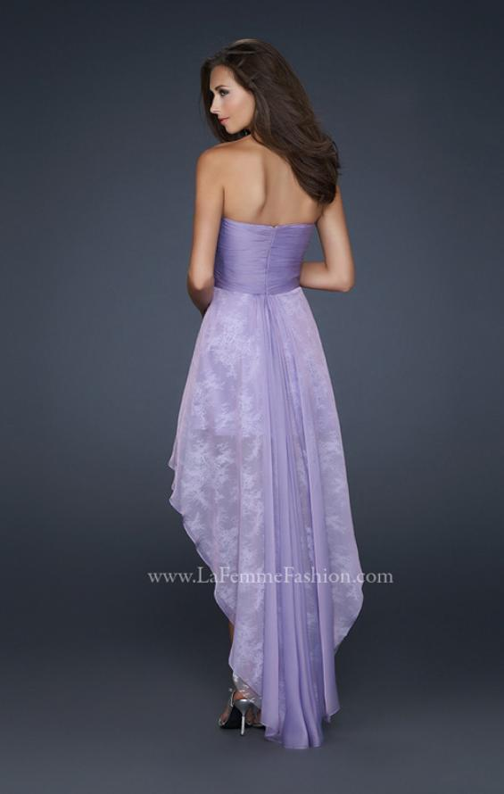 Picture of: Strapless Prom Dress with Corset Bodice and High Low Hem in Purple, Style: 17576, Back Picture