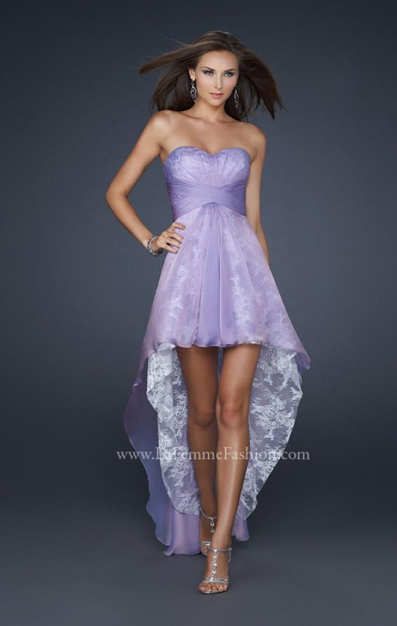Picture of: Strapless Prom Dress with Corset Bodice and High Low Hem in Purple, Style: 17576, Detail Picture 1