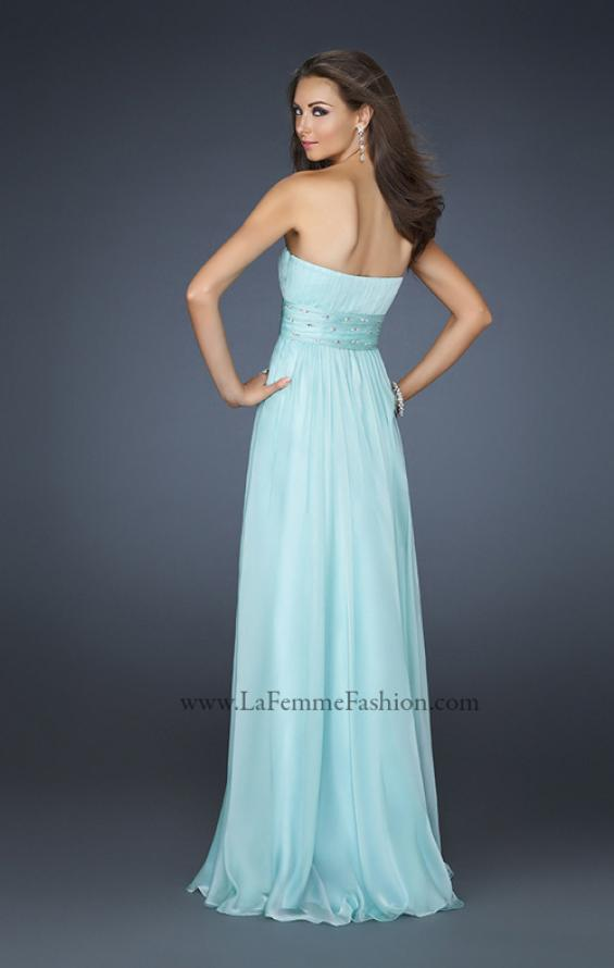 Picture of: Full Length Strapless Dress with Embellished Waistband, Style: 17623, Back Picture