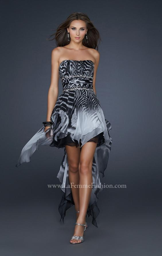 Picture of: Printed Short Chiffon Dress with High Low Hem and Beads in Print, Style: 17624, Main Picture