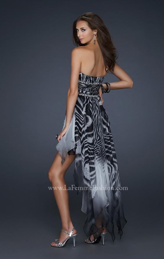 Picture of: Printed Short Chiffon Dress with High Low Hem and Beads in Print, Style: 17624, Back Picture
