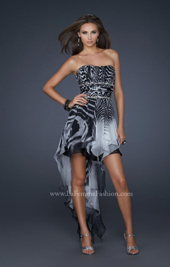 Picture of: Printed Short Chiffon Dress with High Low Hem and Beads in Print, Style: 17624, Detail Picture 1