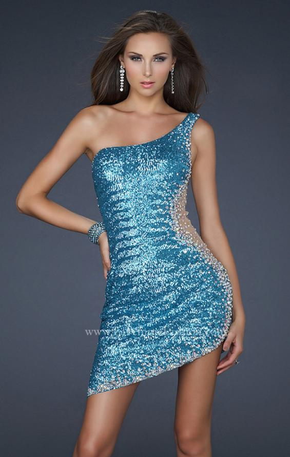 Picture of: One Shoulder Sequined Cocktail Dress with Cut Outs in Blue, Style: 17631, Main Picture
