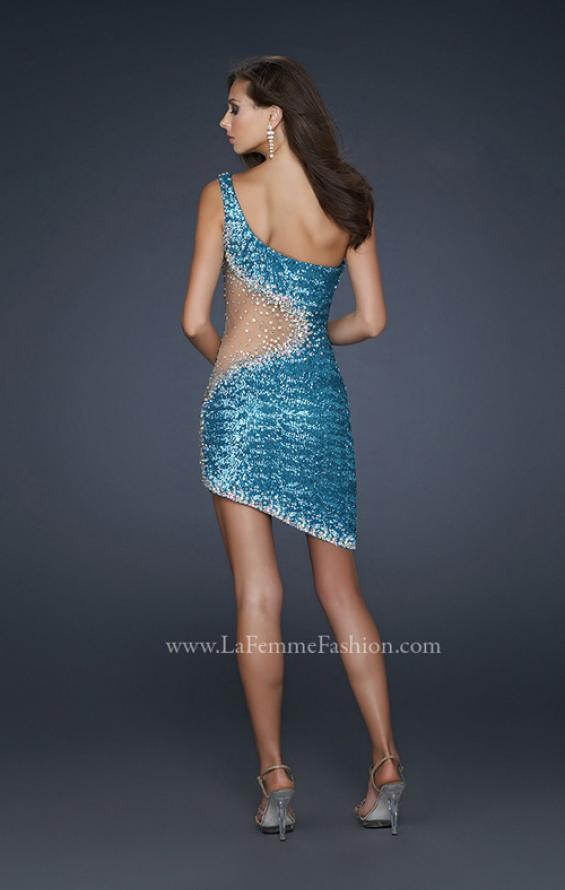 Picture of: One Shoulder Sequined Cocktail Dress with Cut Outs in Blue, Style: 17631, Back Picture