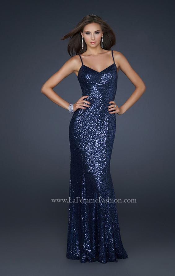 Picture of: Full length Sequin Gown with V Shaped Front and Back in Blue, Style: 17645, Main Picture