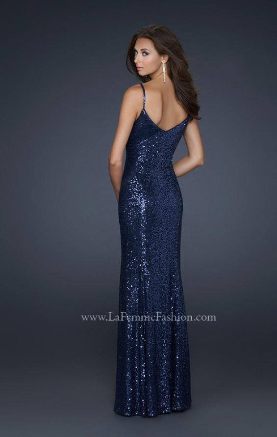 Picture of: Full length Sequin Gown with V Shaped Front and Back in Blue, Style: 17645, Back Picture