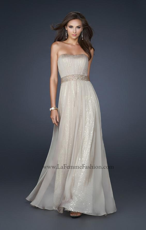 Picture of: Chiffon Prom Gown with Pleats and Beaded Waistband in Nude, Style: 17646, Main Picture