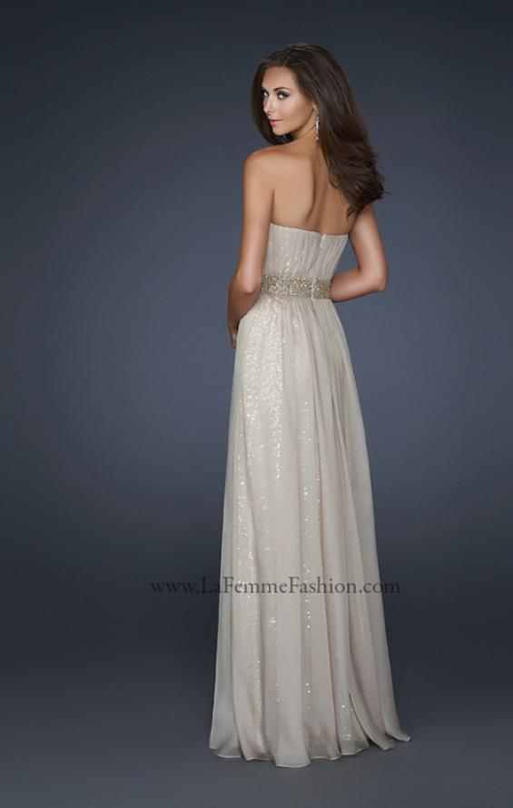 Picture of: Chiffon Prom Gown with Pleats and Beaded Waistband in Nude, Style: 17646, Back Picture