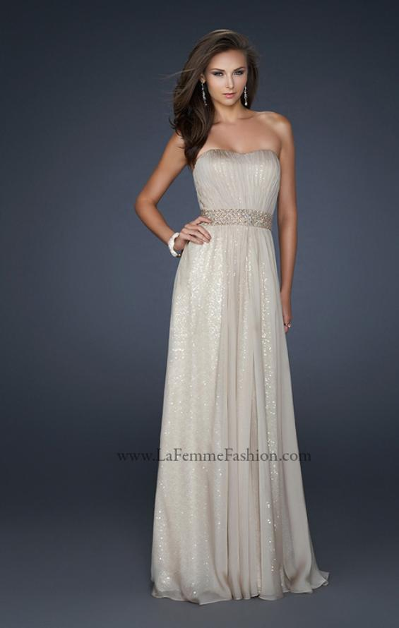 Picture of: Chiffon Prom Gown with Pleats and Beaded Waistband in Nude, Style: 17646, Detail Picture 1