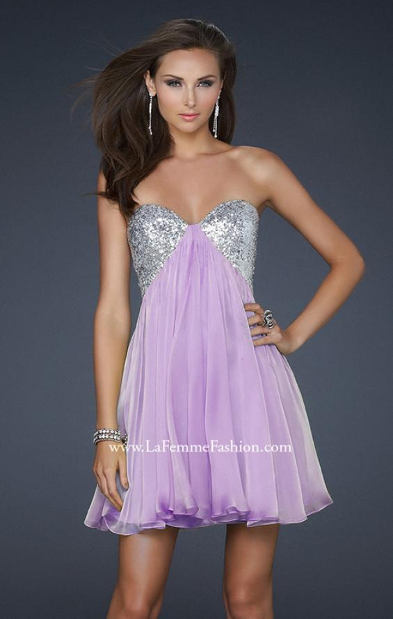 Picture of: Strapless Chiffon Gown with Open Back and Beads in Purple, Style: 17649, Main Picture
