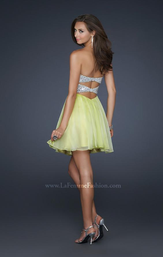 Picture of: Strapless Chiffon Gown with Open Back and Beads in Green, Style: 17649, Back Picture