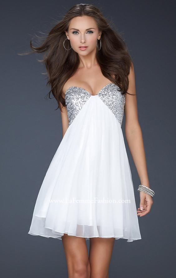 Picture of: Strapless Chiffon Gown with Open Back and Beads in White, Style: 17649, Detail Picture 1