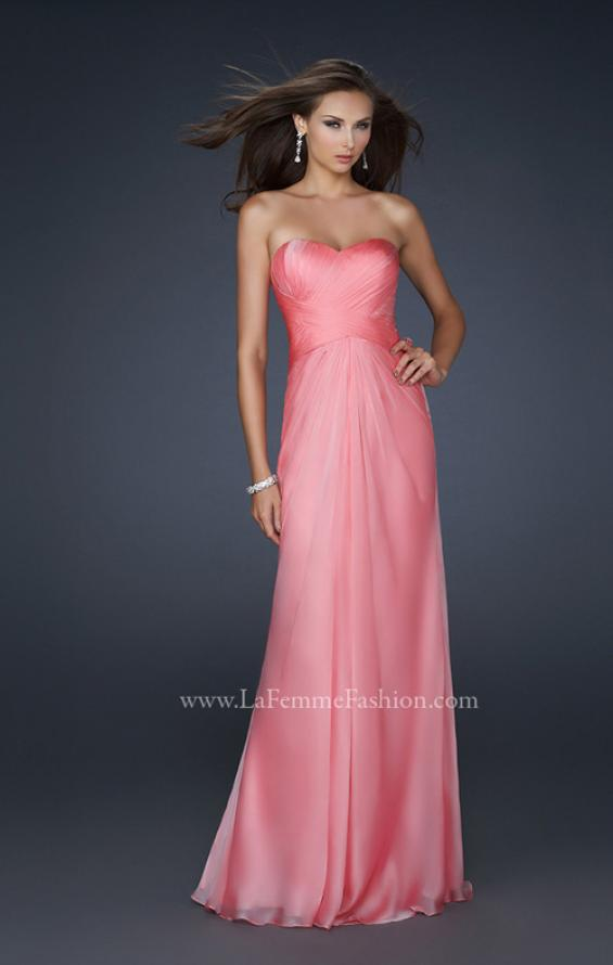 Picture of: Long Chiffon Prom Dress with Open Back and Beading in Orange, Style: 17651, Main Picture