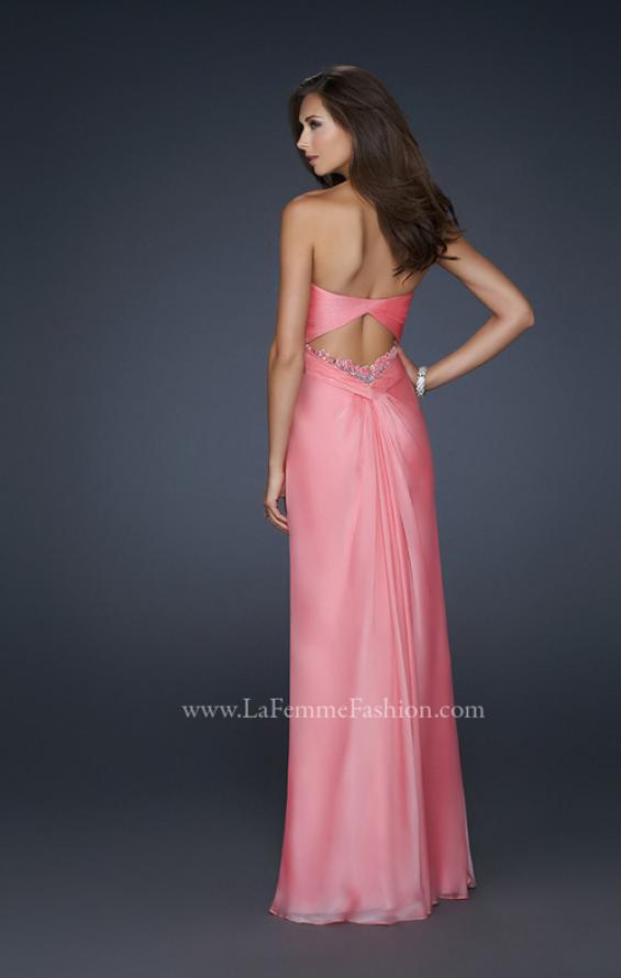 Picture of: Long Chiffon Prom Dress with Open Back and Beading in Orange, Style: 17651, Back Picture