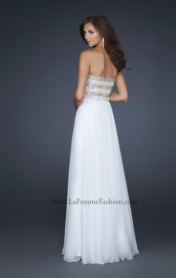 Picture of: Full Length Chiffon Gown with Beaded and Sequined Bust in White Style: 17657, Back Picture