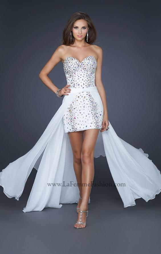 Picture of: Elegant Short Cocktail Dress with Detachable Train in White, Style: 17667, Main Picture
