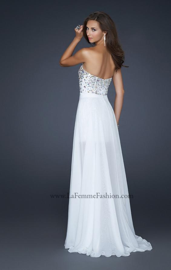 Picture of: Elegant Short Cocktail Dress with Detachable Train in White, Style: 17667, Back Picture
