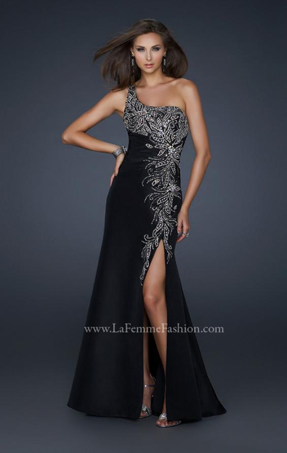 Picture of: One Shoulder Taffeta Gown with Embellishments and Slit in Black, Style: 17680, Main Picture