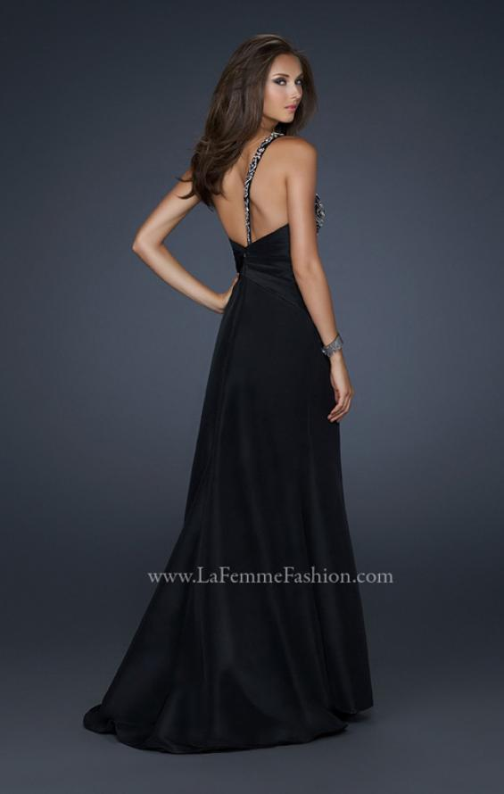 Picture of: One Shoulder Taffeta Gown with Embellishments and Slit in Black, Style: 17680, Back Picture