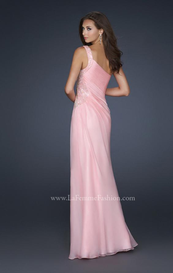 Picture of: One Shoulder Strap Dress with Pleating and Beading, Style: 17684, Back Picture