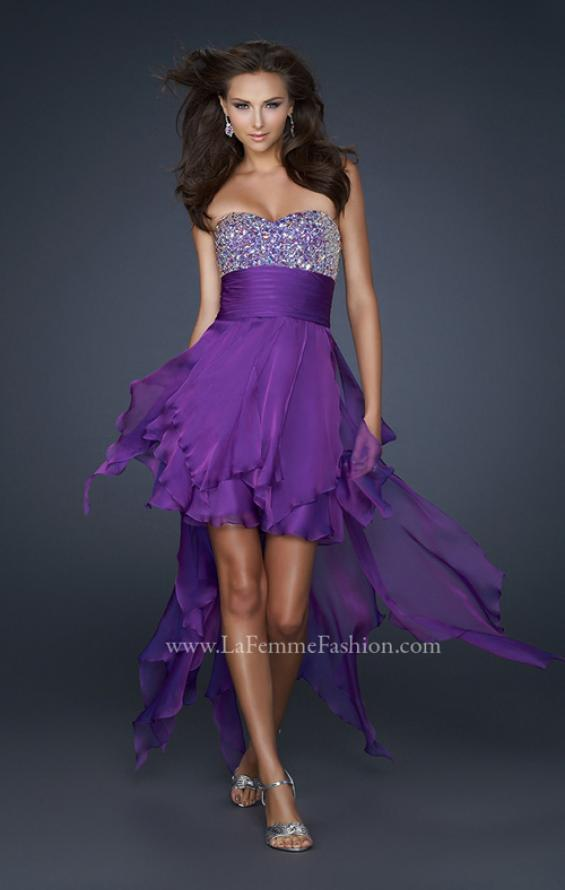 Picture of: High Low Prom Dress with Encrusted Rhinestones in Purple, Style: 17687, Main Picture