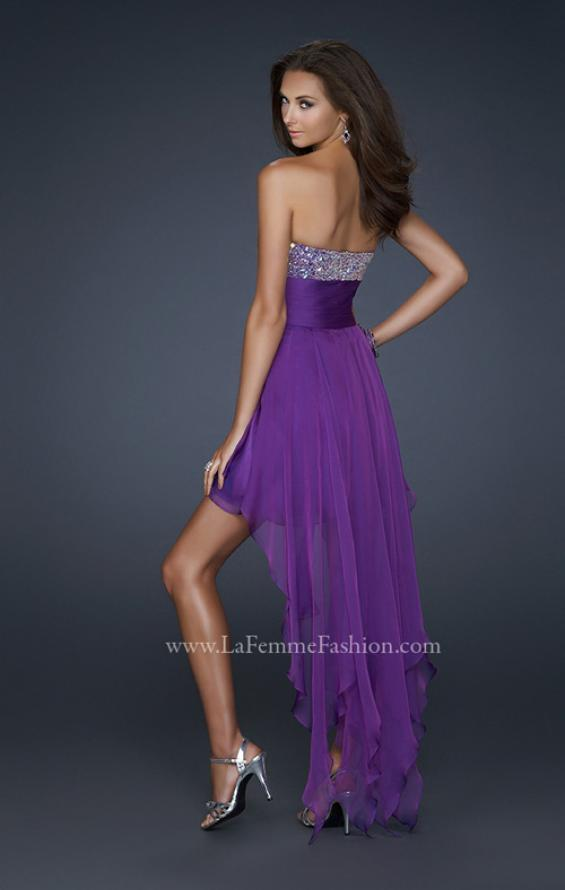 Picture of: High Low Prom Dress with Encrusted Rhinestones in Purple, Style: 17687, Back Picture