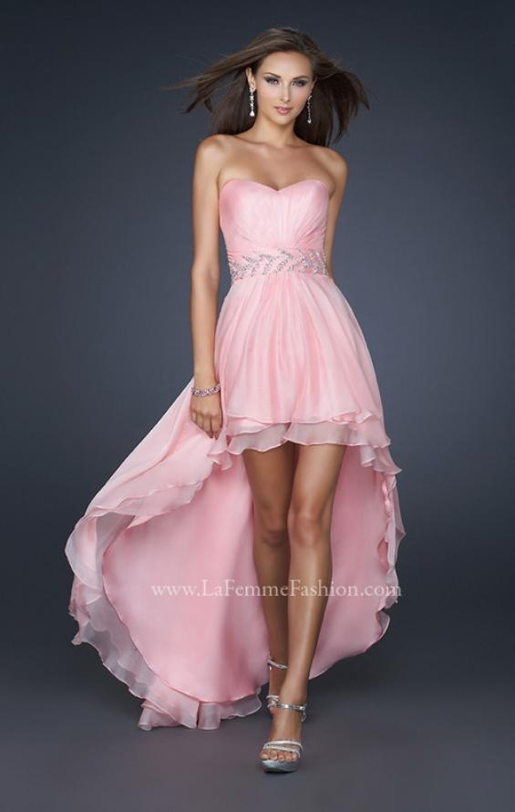 Picture of: Pleated Chiffon Prom Dress with High Low Hem in Pink, Style: 17689, Main Picture