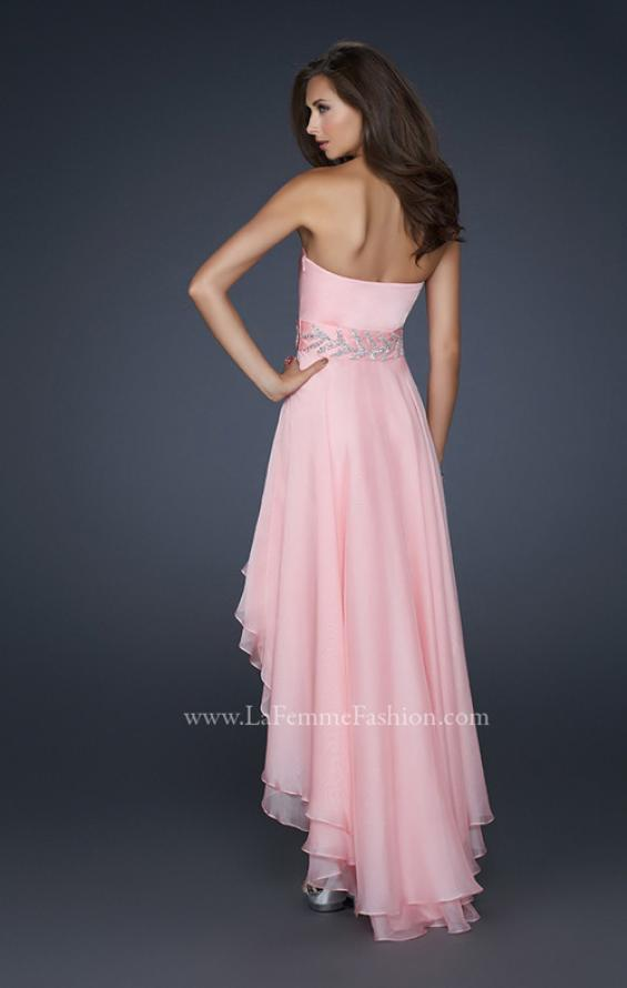 Picture of: Pleated Chiffon Prom Dress with High Low Hem in Pink, Style: 17689, Back Picture