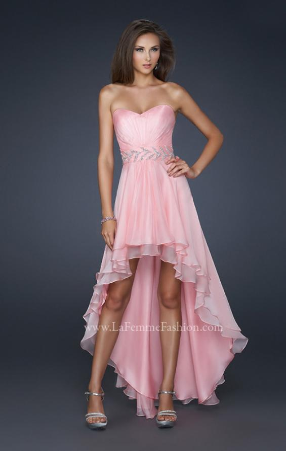 Picture of: Pleated Chiffon Prom Dress with High Low Hem in Pink, Style: 17689, Detail Picture 1