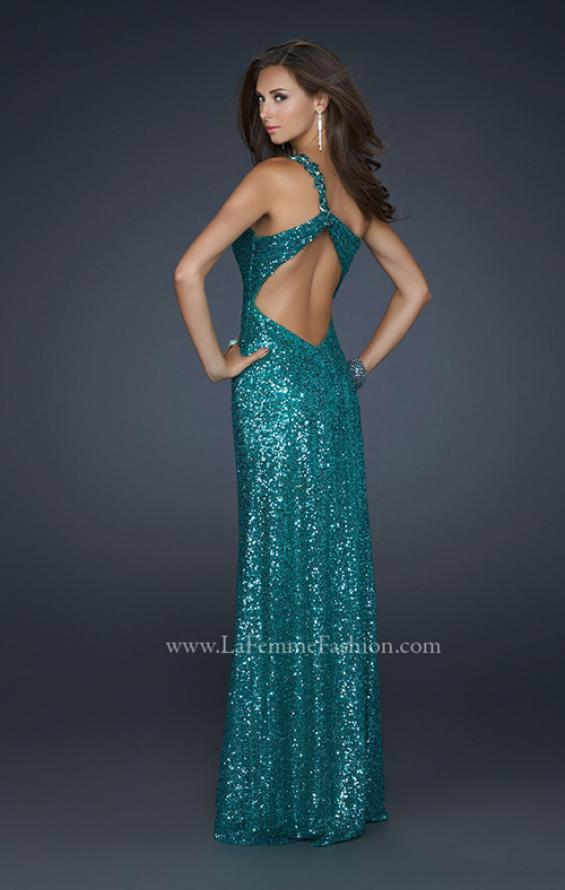 Picture of: Full Length Sequin V Neck Prom Gown with Ruching in Green, Style: 17697, Back Picture