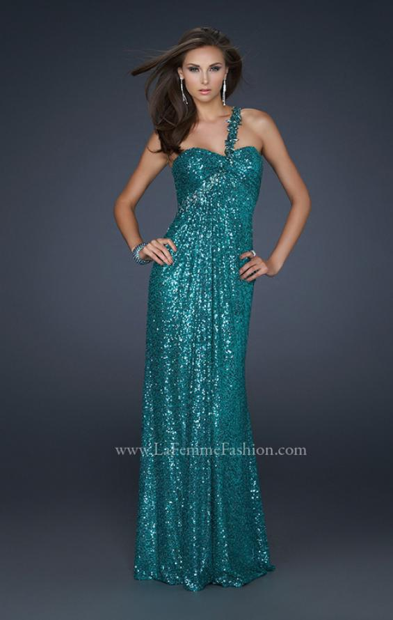 Picture of: Full Length Sequin V Neck Prom Gown with Ruching in Green, Style: 17697, Detail Picture 1