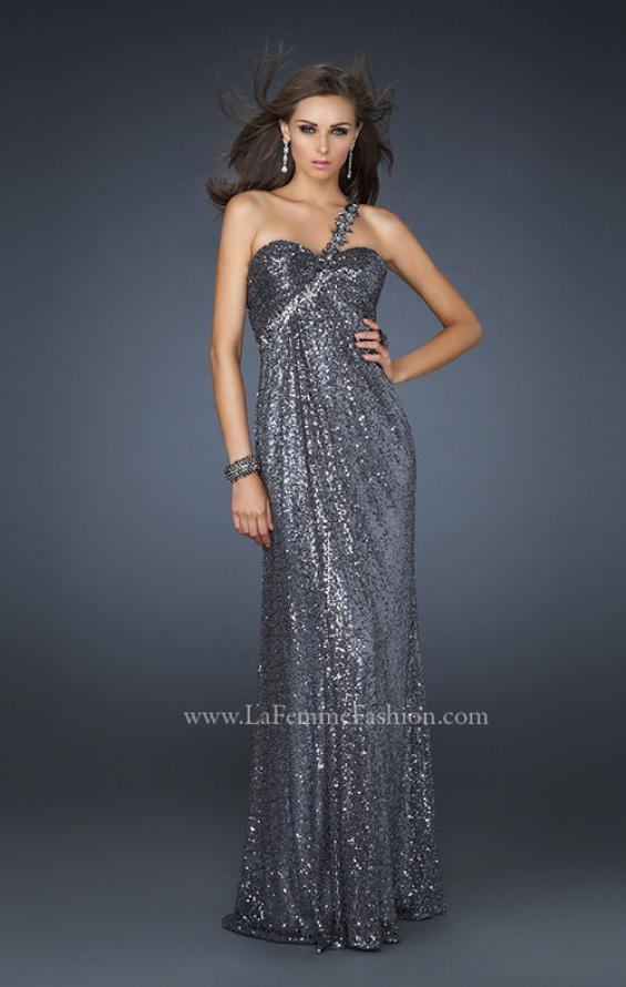 Picture of: Full Length Sequin V Neck Prom Gown with Ruching in Silver, Style: 17697, Detail Picture 2