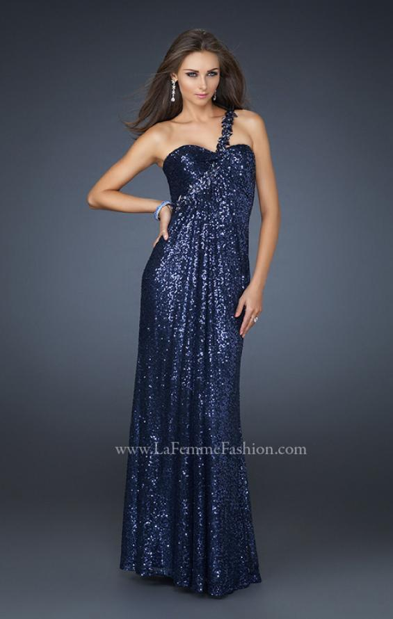 Picture of: Full Length Sequin V Neck Prom Gown with Ruching in Blue, Style: 17697, Detail Picture 3