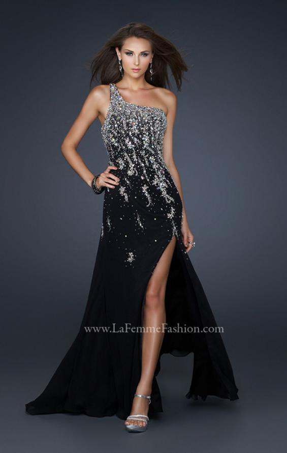 Picture of: One Shoulder Chiffon Gown with Intricate Back and Slit, Style: 17706, Main Picture