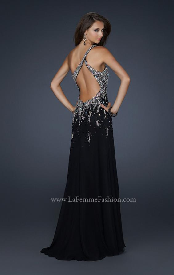 Picture of: One Shoulder Chiffon Gown with Intricate Back and Slit, Style: 17706, Back Picture