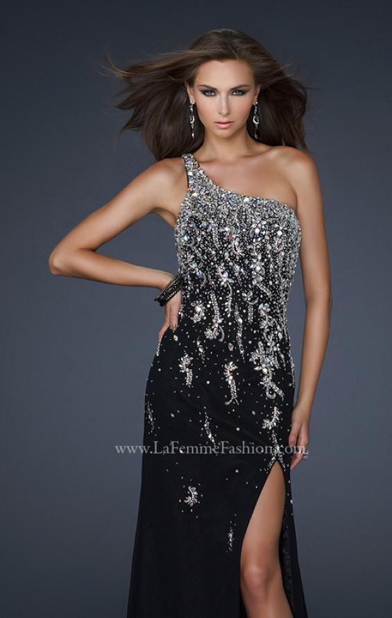 Picture of: One Shoulder Chiffon Gown with Intricate Back and Slit, Style: 17706, Detail Picture 1