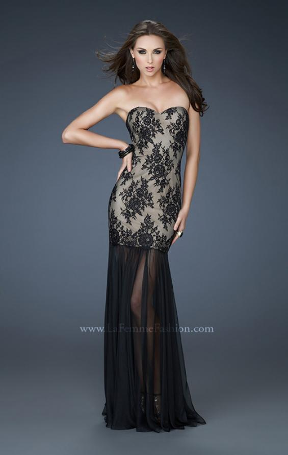 Picture of: Strapless Lace Prom Dress with See Through Net Bottom, Style: 17713, Main Picture