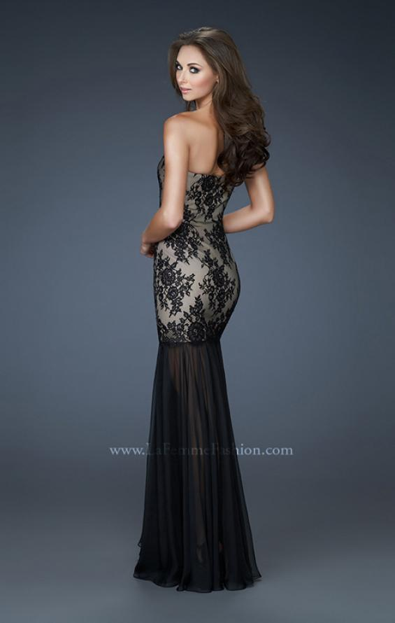 Picture of: Strapless Lace Prom Dress with See Through Net Bottom, Style: 17713, Back Picture