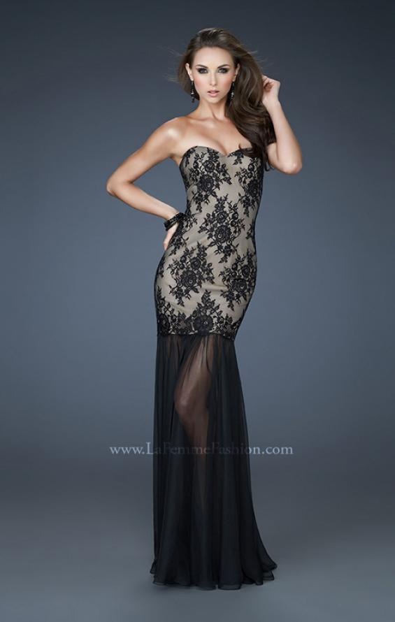 Picture of: Strapless Lace Prom Dress with See Through Net Bottom, Style: 17713, Detail Picture 1