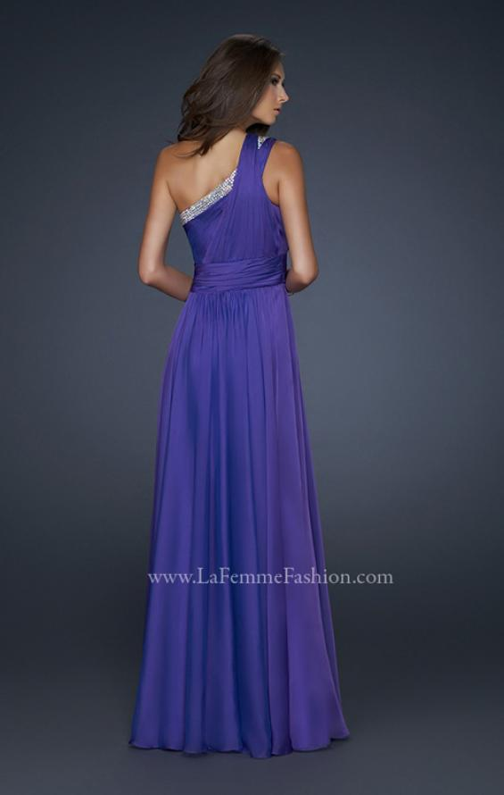Picture of: One Pleated Shoulder Strap Dress with Beading in Purple, Style: 17718, Back Picture