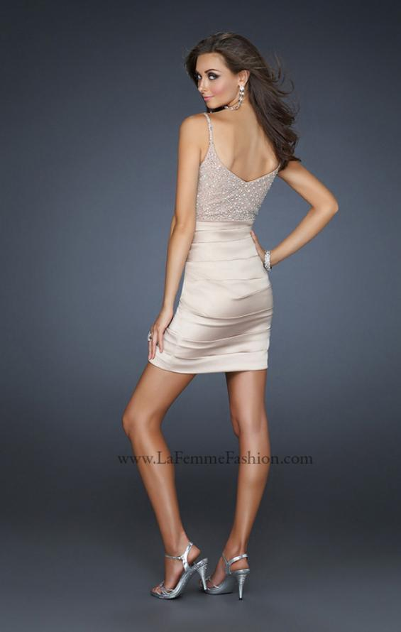 Picture of: Form Fitting V Neck Front Dress with Pleating in Nude, Style: 17721, Back Picture
