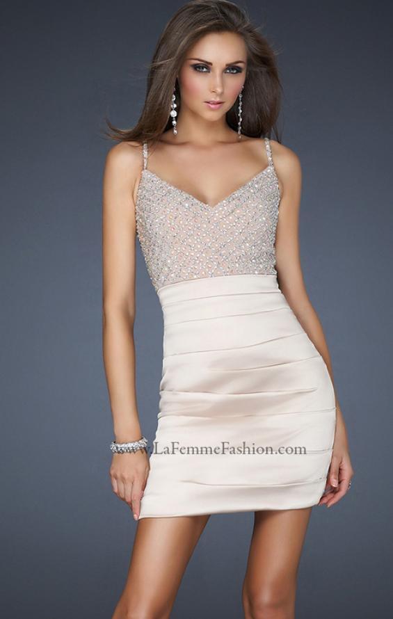 Picture of: Form Fitting V Neck Front Dress with Pleating in Nude, Style: 17721, Detail Picture 1