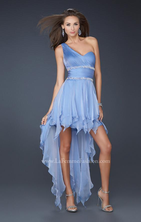 Picture of: High Low Hem Prom Gown with Embellished Waistband in Blue, Style: 17724, Main Picture