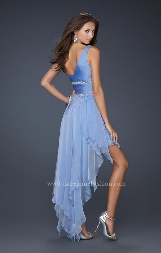 Picture of: High Low Hem Prom Gown with Embellished Waistband in Blue, Style: 17724, Back Picture